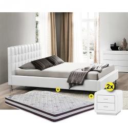 Pack Cama de Casal ILMOR Branco 160x200cm + Mesas de Cabeceira ELYSEE + Colchão START ROLL 160x200cm