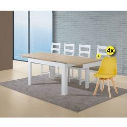 Pack de Mesa de Jantar Extensível FLORENÇA Branco + 4 Cadeiras de Sala SOFIA II Amarelo