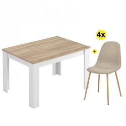 Pack Mesa de Jantar Extensível BARCELONA Carvalho e Branco Mate + 4 Cadeiras de Sala LEE II Bege