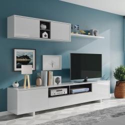 Estante TV BELUS Branco Brilho e Cinza
