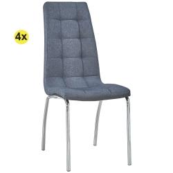 Pack de 4 Cadeiras de Sala CALLY II Tecido Cinza