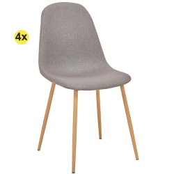 Pack de 4 Cadeiras de Jantar LEE II Cinza-Taupe