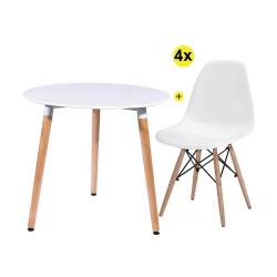 Pack Mesa de Jantar SOFIA + 4 Cadeiras de Sala DENVER Branco