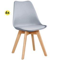 Pack de 4 Cadeiras de Jantar SOFIA II Cinza Claro