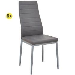 Pack de 6 Cadeiras de Sala ZARA II Cinza