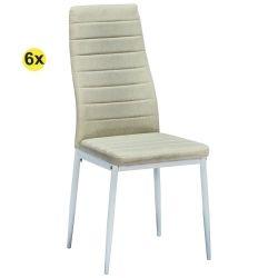 Pack de 6 Cadeiras de Sala ZARA II Tecido Bege