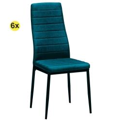 Pack de 6 Cadeiras de Sala ZARA II Tecido Azul