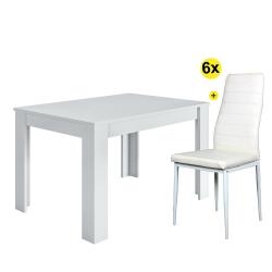 Pack Mesa de Jantar Extensível BARCELONA Branco Brilho + 6 Cadeiras de Sala ZARA II Branco