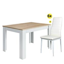 Pack Mesa de Jantar Extensível BARCELONA Carvalho e Branco Mate + 6 Cadeiras de Sala ZARA II Branco