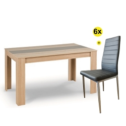 Pack Mesa de Jantar DOMUS Carvalho e Latte + 6 Cadeiras de Sala ZARA II Cinza PU