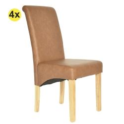 Pack de 4 Cadeiras de Sala ISABEL Castanho PU