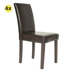 Pack 4 Cadeiras de Sala ISABELINHO Castanho PU com pés Castanhos