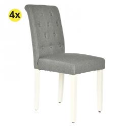 Cadeira de Sala PAULINA Cinza com Pé Branco