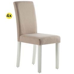 Pack 4 Cadeiras de Sala ISABELINHO Bege com pés Brancos