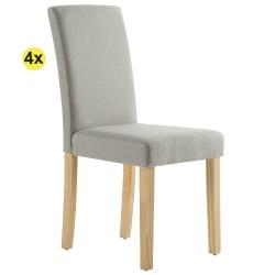 Pack 4 Cadeiras de Sala ISABELINHO Bege com pés Carvalho