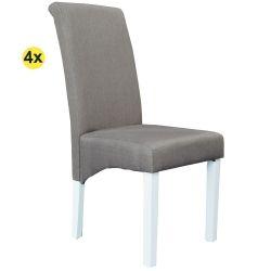 Pack de 4 Cadeiras de Sala ISABEL Taupe com pés Brancos