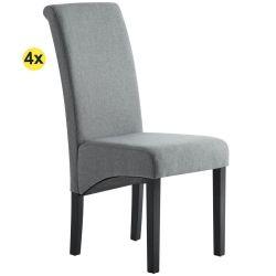 Pack de 4 Cadeiras de Sala ISABEL Cinza com pés Pretos