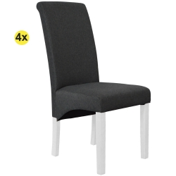 Pack de 4 Cadeiras de Sala ISABEL Antracite com pés Branco