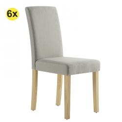 Pack 6 Cadeiras de Sala ISABELINHO Bege com pés Carvalho