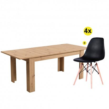 Pack Mesa Extensível OSCAR (Carvalho Artesanato) + 4 Cadeiras DENVER II (Preto)