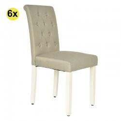 Pack de 6 Cadeiras de Sala PAULINA Bege com Pé Branco