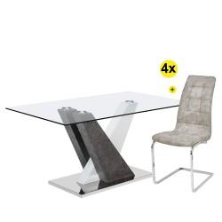 Pack Mesa de Jantar PATRICIO II + 4 Cadeiras LUCAS II Microfibra Cinza