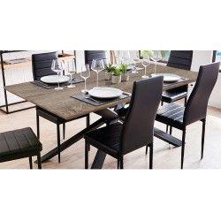 Pack Mesa de Jantar TRENDY Cinza Rústico + 6 Cadeiras de Sala ZARA Preto