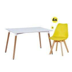 Pack Mesa de Jantar DENVER II + 4 Cadeiras SOFIA II Amarelo