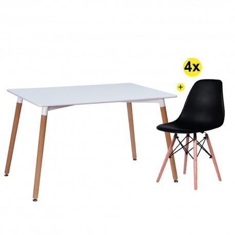 Pack Mesa DENVER II (Branco) + 4 Cadeiras DENVER II (Preto)