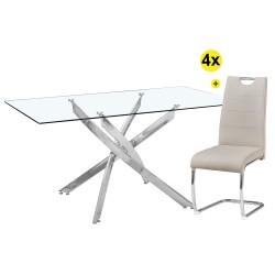Pack Mesa de Jantar LEONA + 4 Cadeiras BILBAO PU Cinza Claro
