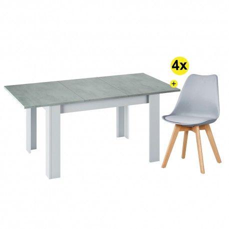 Pack Mesa de Jantar Extensível BARCELONA Betão e Branco Mate + 4 Cadeiras de Sala SOFIA II Cinza Claro