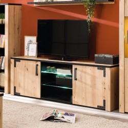 Móvel TV LAZIO 170cm Carvalho Artesanato e Preto