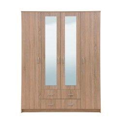Roupeiro 4 Portas e 2 Gavetas HANA com espelhos Carvalho