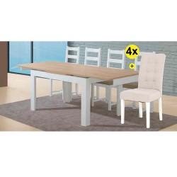 Pack de Mesa de Jantar Extensível FLORENÇA Branco e Carvalho + 4 Cadeiras de Sala FLORIDA Bege