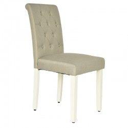 Cadeira de Sala PAULINA Bege com Pé Branco