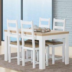 Mesa de Jantar Extensível FLORENÇA (140-230 cm) Branco e Carvalho