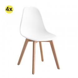 Pack de 4 Cadeiras de Sala SCANDY (Branco)