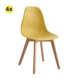 Pack de 4 Cadeiras de Sala SCANDY (Amarelo)