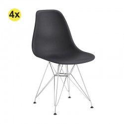 Pack de 4 Cadeiras de Sala EIFFEL (Preto)