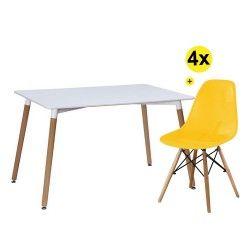Pack Mesa DENVER II (Branco) + 4 Cadeiras DENVER II (Amarelo)