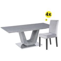 Pack Mesa de Jantar Extensível ROCKY + 4 Cadeiras JULE
