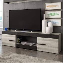 Móvel TV SIDNEY 180cm Preto Ebony e Cinzento Coral