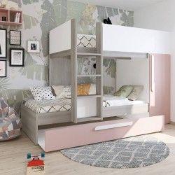 Camas Sobrepostas com Armário RICARDO 3x 90x190cm Rosa e Branco