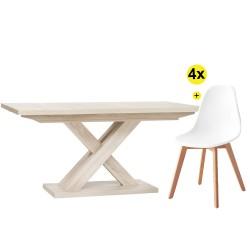 Pack Mesa de Jantar Extensível AVANT + 4 Cadeiras SCANDY (Branco)